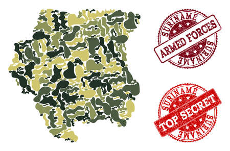 Military camouflage collage of map of Suriname and red rubber seals. Vector top secret and armed forces watermarks with corroded rubber texture. Army flat design for military purposes.