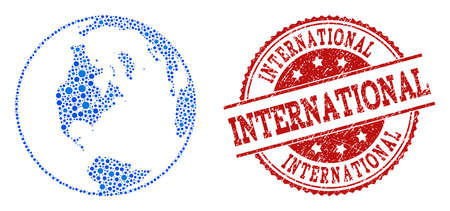 Compositions of blue global map of world and red grunge stamp seal. Mosaic global map of world is formed with relations between round dots. Abstract design elements for internet purposes.