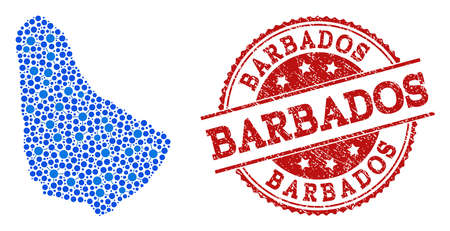 Compositions of blue map of Barbados and red grunge stamp seal. Mosaic map of Barbados is formed with relations between round dots. Flat design elements for network illustrations. Illustration