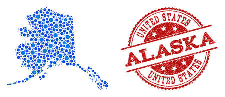 Compositions of blue map of Alaska State and red grunge stamp seal. Mosaic map of Alaska State is designed with relations between round dots. Flat design elements for patriotic projects.