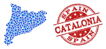 Compositions of blue map of Catalonia and red grunge stamp seal. Mosaic map of Catalonia is created with links between round dots. Abstract design elements for network posters.