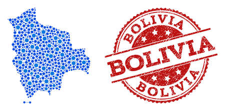 Compositions of blue map of Bolivia and red grunge stamp seal. Mosaic map of Bolivia is created with connections between round points. Abstract design elements for political illustrations. Ilustrace