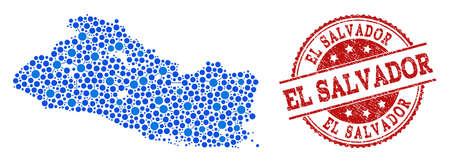 Compositions of blue map of El Salvador and red grunge stamp seal. Mosaic map of El Salvador is designed with relations between round dots. Flat design elements for network projects.