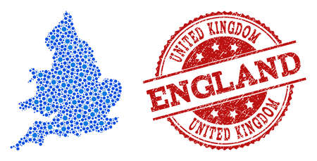 Compositions of blue map of England and red grunge stamp seal. Mosaic map of England is designed with connections between circle dots. Abstract design elements for political applications.
