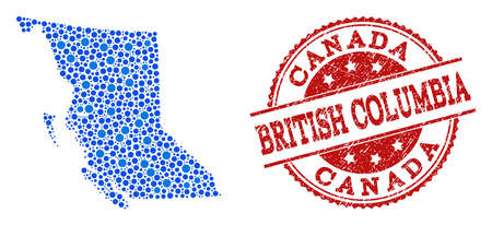Compositions of blue map of British Columbia Province and red grunge stamp seal. Mosaic map of British Columbia Province is designed with relations between circle dots.