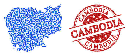 Compositions of blue map of Cambodia and red grunge stamp seal. Mosaic map of Cambodia is formed with connections between round points. Abstract design elements for network projects. Ilustração