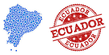 Compositions of blue map of Ecuador and red grunge stamp seal. Mosaic map of Ecuador is created with links between round dots. Flat design elements for internet purposes.