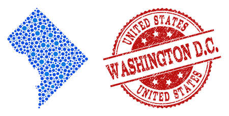 Compositions of blue map of District Columbia and red grunge stamp seal. Mosaic map of District Columbia is designed with links between round dots. Flat design elements for internet purposes.