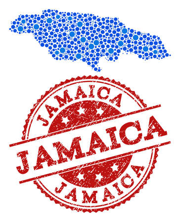 Compositions of blue map of Jamaica and red grunge stamp seal. Mosaic map of Jamaica is formed with relations between round dots. Abstract design elements for political illustrations. Ilustração