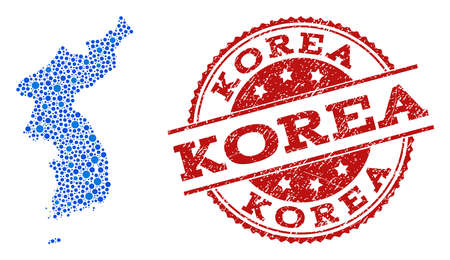 Compositions of blue map of Korea and red grunge stamp seal. Mosaic map of Korea is formed with links between circle points. Abstract design elements for network projects.