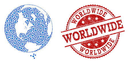Compositions of blue map of global world and red grunge stamp seal. Mosaic map of global world is created with relations between circle dots. Abstract design elements for network purposes.