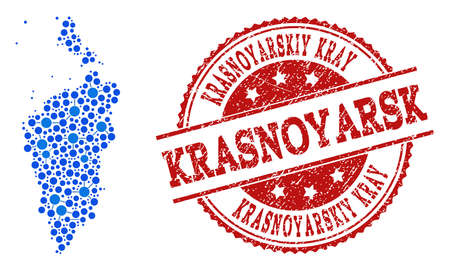 Compositions of blue map of Krasnoyarskiy Kray and red grunge stamp seal. Mosaic map of Krasnoyarskiy Kray is composed with connections between round dots. Illustration