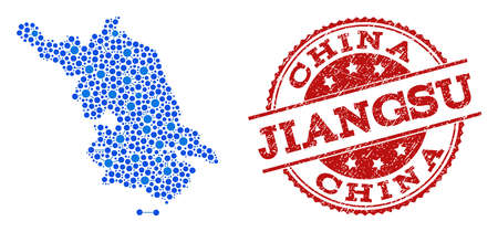 Compositions of blue Map of Jiangsu Province and red grunge stamp seal. Mosaic Map of Jiangsu Province is created with relations between round dots. Flat design elements for political posters.
