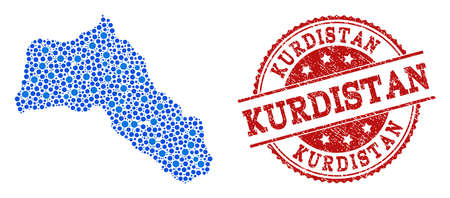 Compositions of blue map of Kurdistan and red grunge stamp seal. Mosaic map of Kurdistan is designed with links between round dots. Flat design elements for patriotic posters. Çizim