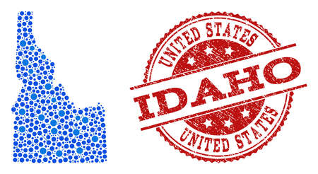 Compositions of blue map of Idaho State and red grunge stamp seal. Mosaic map of Idaho State is formed with relations between round points. Flat design elements for patriotic illustrations.