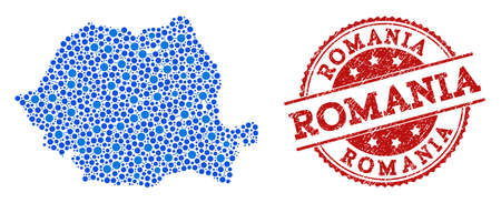 Compositions of blue map of Romania and red grunge stamp seal. Mosaic map of Romania is composed with connections between circle dots. Flat design elements for patriotic illustrations.