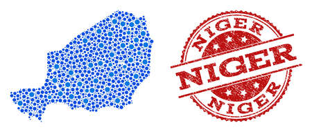 Compositions of blue map of Niger and red grunge stamp seal. Mosaic map of Niger is created with relations between round dots. Flat design elements for patriotic posters. Illustration