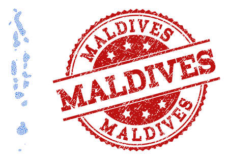 Compositions of blue map of Maldives and red grunge stamp seal. Mosaic map of Maldives is composed with relations between circle dots. Abstract design elements for political projects. Illustration