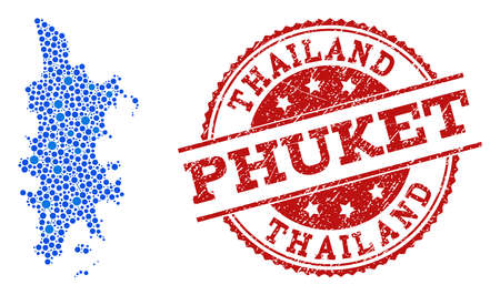 Compositions of blue map of Phuket and red grunge stamp seal. Mosaic map of Phuket is designed with links between round points. Flat design elements for political posters. Illustration