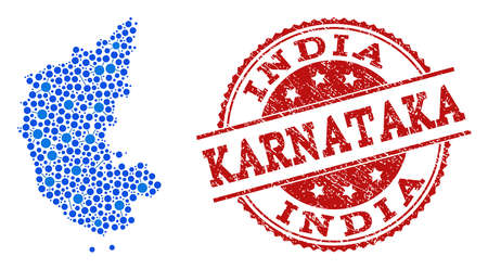 Compositions of blue map of Karnataka State and red grunge stamp seal. Mosaic map of Karnataka State is designed with relations between round points. Illustration