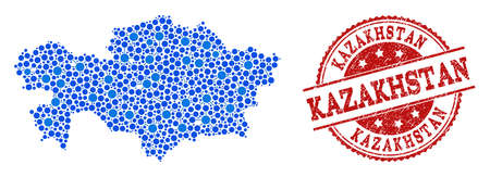 Compositions of blue map of Kazakhstan and red grunge stamp seal. Mosaic map of Kazakhstan is formed with connections between round dots. Flat design elements for political posters. Illustration