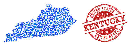 Compositions of blue map of Kentucky State and red grunge stamp seal. Mosaic map of Kentucky State is created with connections between round dots. Flat design elements for patriotic illustrations.