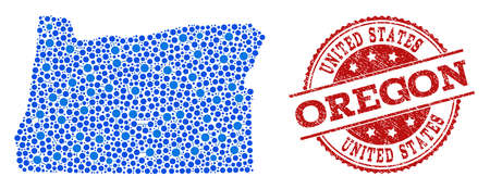 Compositions of blue map of Oregon State and red grunge stamp seal. Mosaic map of Oregon State is formed with relations between circle dots. Abstract design elements for political purposes.  イラスト・ベクター素材