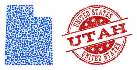 Compositions of blue map of Utah State and red grunge stamp seal. Mosaic map of Utah State is designed with relations between circle points. Flat design elements for patriotic applications.  イラスト・ベクター素材