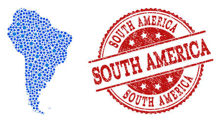 Compositions of blue map of South America and red grunge stamp seal. Mosaic map of South America is composed with relations between circle points. Abstract design elements for internet projects.