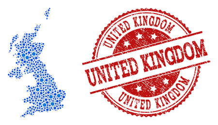 Compositions of blue map of United Kingdom and red grunge stamp seal. Mosaic map of United Kingdom is composed with relations between circle dots. Abstract design elements for political applications. Illustration