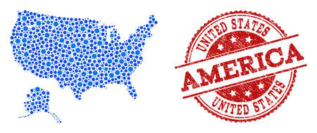 Compositions of blue map of USA and Alaska and red grunge stamp seal. Mosaic map of USA and Alaska is created with connections between circle points. Abstract design elements for internet purposes.