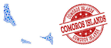 Compositions of blue map of Comoros Islands and red grunge stamp seal. Mosaic map of Comoros Islands is created with relations between round dots. Abstract design elements for network applications.