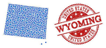 Compositions of blue map of Wyoming State and red grunge stamp seal. Mosaic map of Wyoming State is formed with relations between circle points. Flat design elements for internet posters.