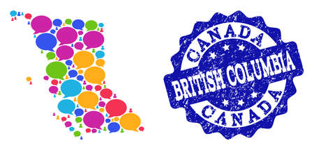 Social network map of British Columbia Province and blue distress stamp seal. Mosaic map of British Columbia Province is composed with media messages. Flat design elements for social network posters. 일러스트