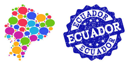 Social network map of Ecuador and blue rubber stamp seal. Mosaic map of Ecuador is designed with dialog messages. Flat design elements for social network applications.