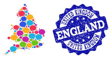 Karte des sozialen Netzwerks von England und blaues Stempelsiegel. Mosaikkarte von England wird mit Diskussionsblasen gebildet. Abstrakte Gestaltungselemente für Illustrationen des sozialen Netzwerks.