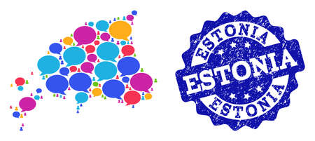 Social network map of Estonia and blue distress stamp seal. Mosaic map of Estonia is created with blog messages. Abstract design elements for social network applications.