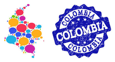 Social network map of Colombia and blue distress stamp seal. Mosaic map of Colombia is composed with chat messages. Abstract design elements for social network illustrations. Çizim