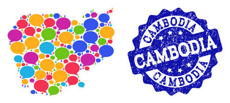 Social network map of Cambodia and blue distress stamp seal. Mosaic map of Cambodia is composed with media clouds. Flat design elements for social network applications. Ilustração