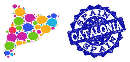 Social network map of Catalonia and blue grunge stamp seal. Mosaic map of Catalonia is composed with talk messages. Abstract design elements for social network projects. Illustration