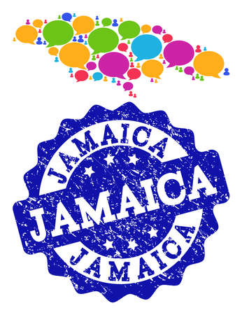 Social network map of Jamaica and blue rubber stamp seal. Mosaic map of Jamaica is designed with word messages. Flat design elements for social network illustrations.