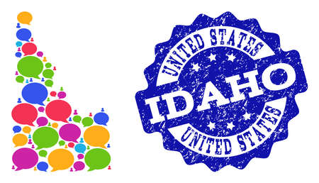 Social network map of Idaho State and blue scratched stamp seal. Mosaic map of Idaho State is designed with discussion bubbles. Abstract design elements for social network purposes.  イラスト・ベクター素材
