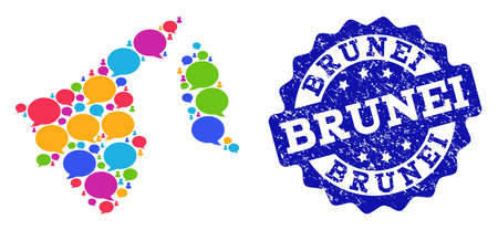 Social network map of Brunei and blue grunge stamp seal. Mosaic map of Brunei is composed with communication bubbles. Flat design elements for social network posters. 일러스트