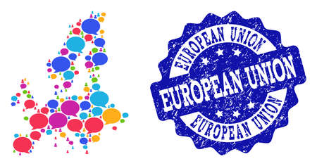 Social network map of Euro Union and blue scratched stamp seal. Mosaic map of Euro Union is created with media messages. Abstract design elements for social network applications. Stock Photo