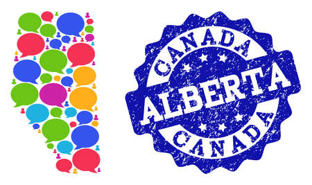 Social network map of Alberta Province and blue grunge stamp seal. Mosaic map of Alberta Province is composed with media bubbles. Abstract design elements for social network applications.