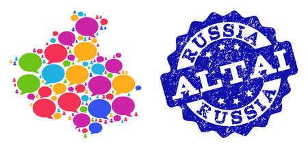 Social network map of Altai Republic and blue grunge stamp seal. Mosaic map of Altai Republic is designed with media bubbles. Flat design elements for social network illustrations.