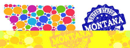 Social network map of Montana State and blue scratched stamp seal. Mosaic map of Montana State is composed with talk messages. Abstract design elements for social purposes.