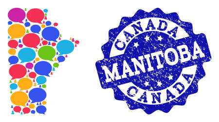 Social network map of Manitoba Province and blue grunge stamp seal. Mosaic map of Manitoba Province is designed with comment clouds. Abstract design elements for social network applications.
