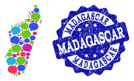 Social network map of Madagascar Island and blue scratched stamp seal. Mosaic map of Madagascar Island is composed with dialog clouds. Abstract design elements for social network posters.