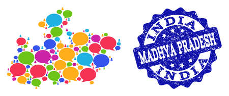 Social network map of Madhya Pradesh State and blue scratched stamp seal. Mosaic map of Madhya Pradesh State is designed with speech messages.